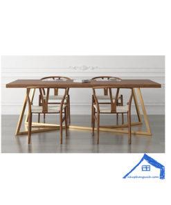Bộ bàn ăn 6 ghế chữ nhật gỗ tự nhiên - BA40