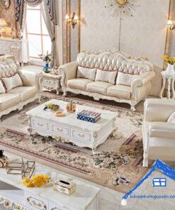 Ghế-sofa-da-3-người-màu-trắng-phong-cách-tân-cổ-điển-SF03