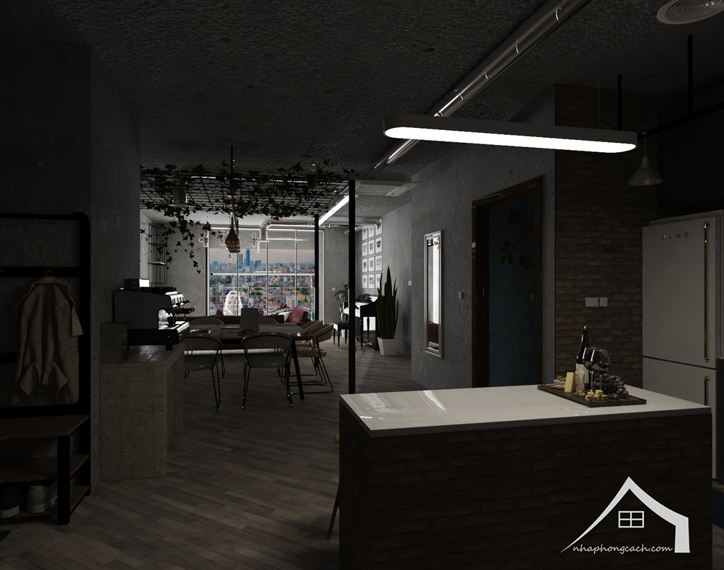 Thiết kế nội thất Industrial chung cư Times City căn 01&18 tòa T2 diện tích 110m2 1