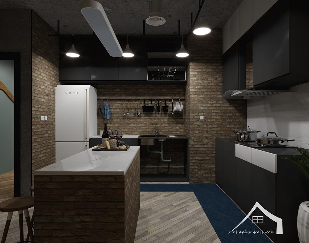 Thiết kế nội thất Industrial chung cư Times City căn 01&18 tòa T2 diện tích 110m2 4