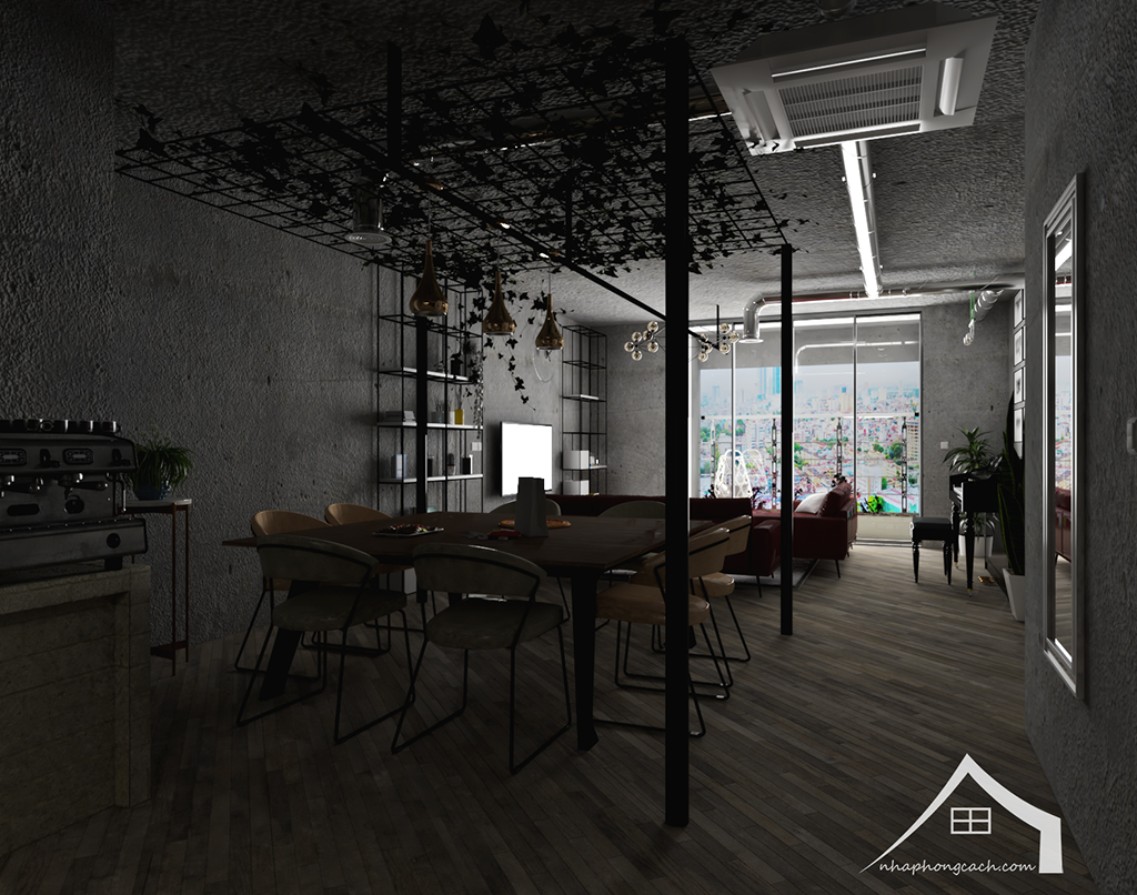 Thiết kế nội thất Industrial chung cư Times City căn 01&18 tòa T2 diện tích 110m2 6