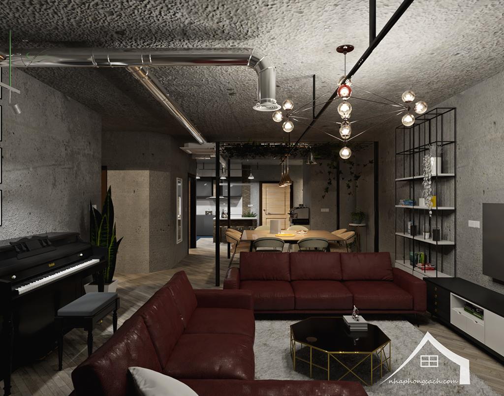 Thiết kế nội thất Industrial chung cư Times City căn 01&18 tòa T2 diện tích 110m2 9