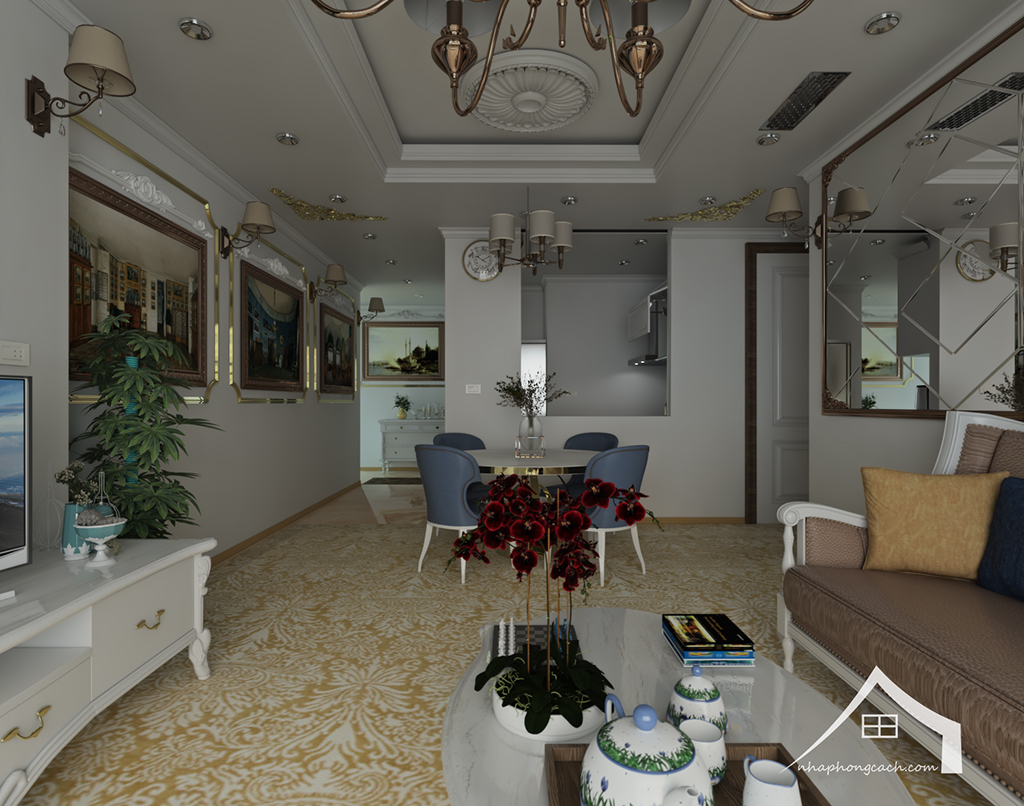Thiết kế nội thất tân cổ điển cho chung cư Times City căn 02&16 tòa T2- 97m2 6