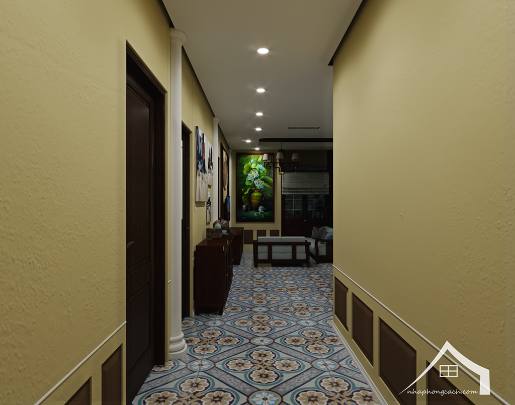 Thiết kế nội thất Đông Dương cho Times City căn 08 & 10 diện tích 95m2 1