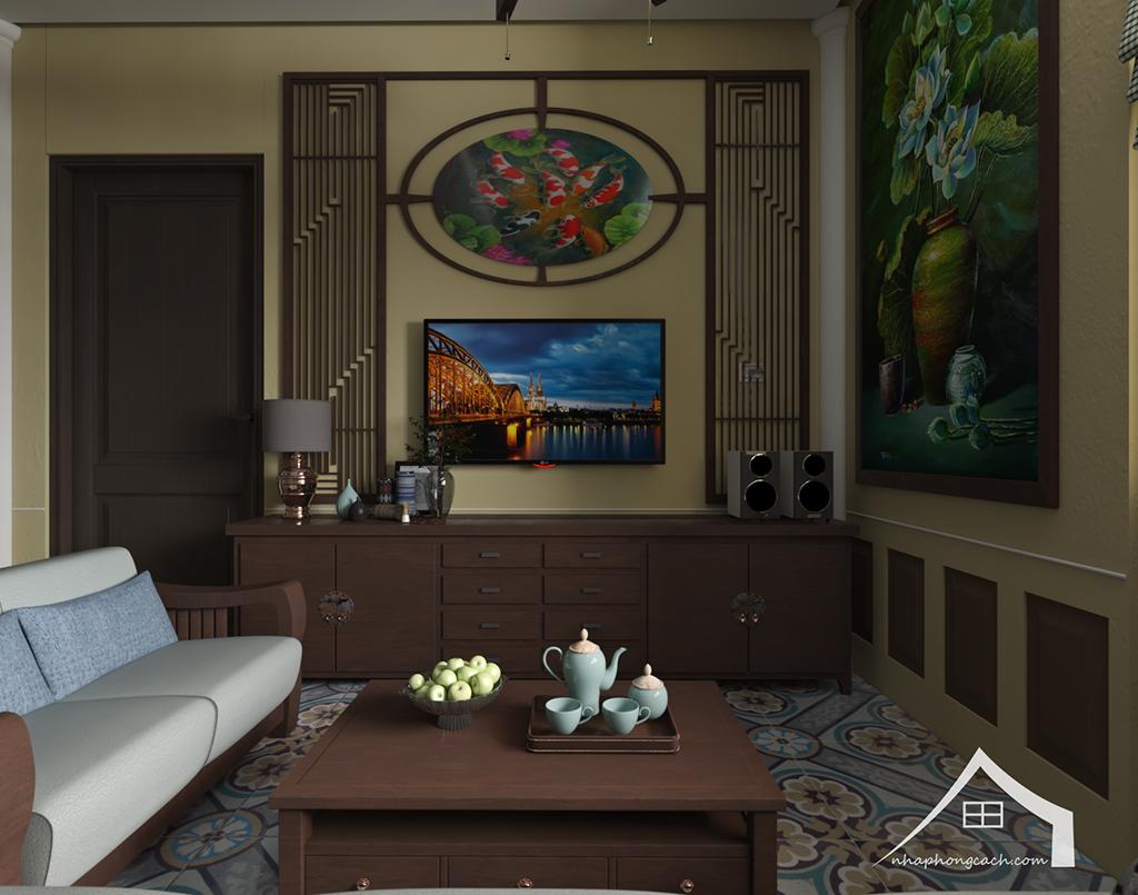 Thiết kế nội thất Đông Dương cho Times City căn 08 & 10 diện tích 95m2 12