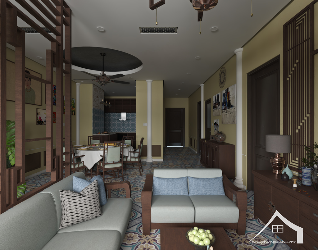 Thiết kế nội thất Đông Dương cho Times City căn 08 & 10 diện tích 95m2 13