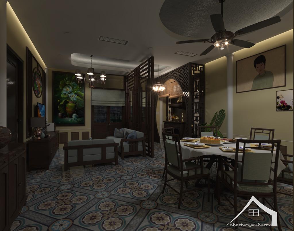 Thiết kế nội thất Đông Dương cho Times City căn 08 & 10 diện tích 95m2 14