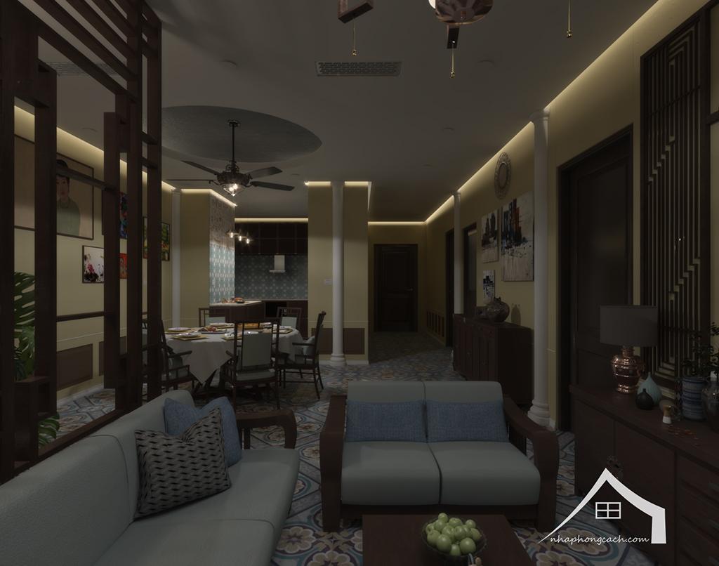 Thiết kế nội thất Đông Dương cho Times City căn 08 & 10 diện tích 95m2 16
