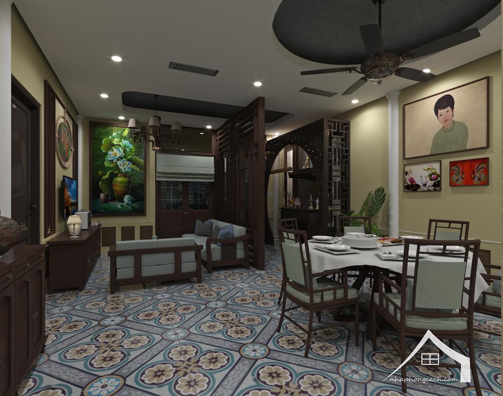 Thiết kế nội thất Đông Dương cho Times City căn 08 & 10 diện tích 95m2 2