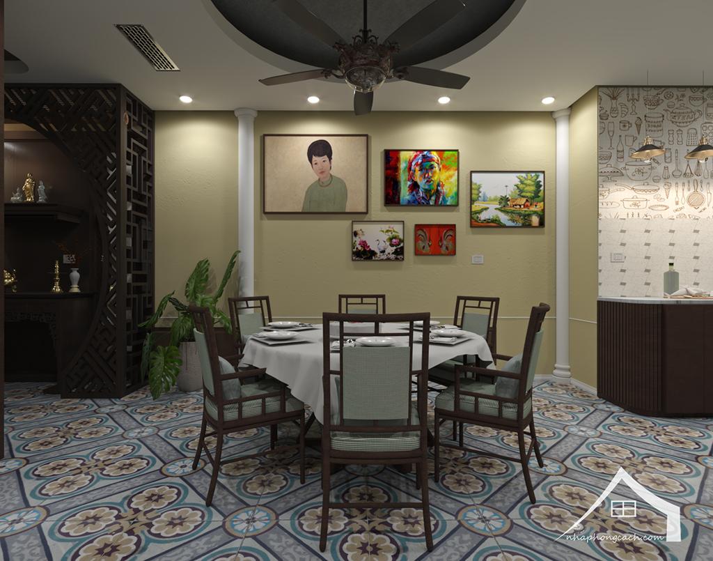 Thiết kế nội thất Đông Dương cho Times City căn 08 & 10 diện tích 95m2 3
