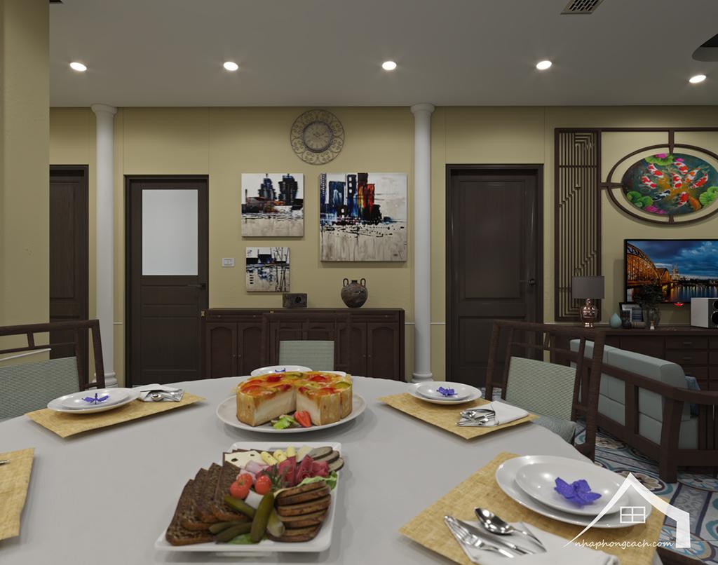 Thiết kế nội thất Đông Dương cho Times City căn 08 & 10 diện tích 95m2 4