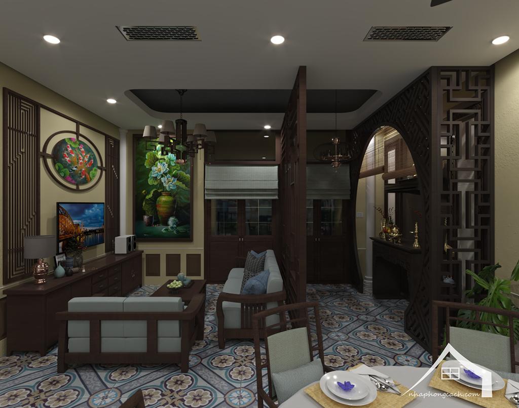 Thiết kế nội thất Đông Dương cho Times City căn 08 & 10 diện tích 95m2 5