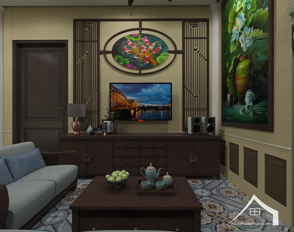 Thiết kế nội thất Đông Dương cho Times City căn 08 & 10 diện tích 95m2 6
