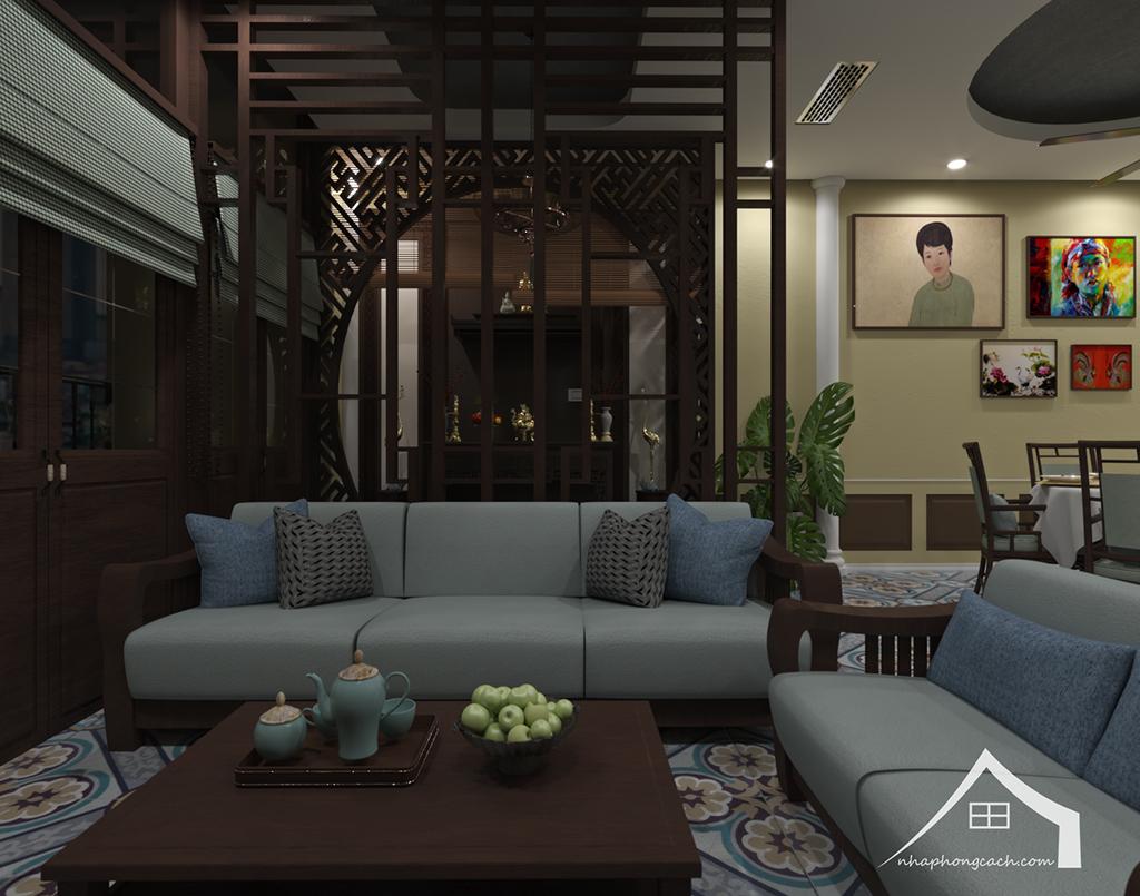 Thiết kế nội thất Đông Dương cho Times City căn 08 & 10 diện tích 95m2 7