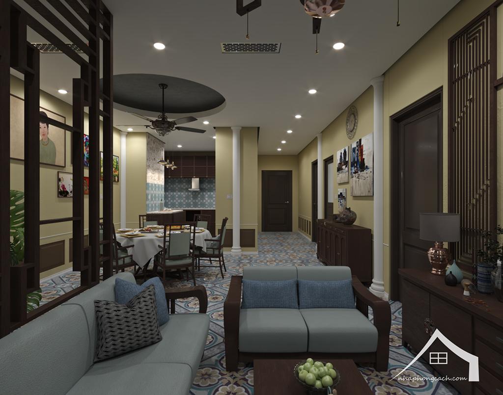Thiết kế nội thất Đông Dương cho Times City căn 08 & 10 diện tích 95m2 8