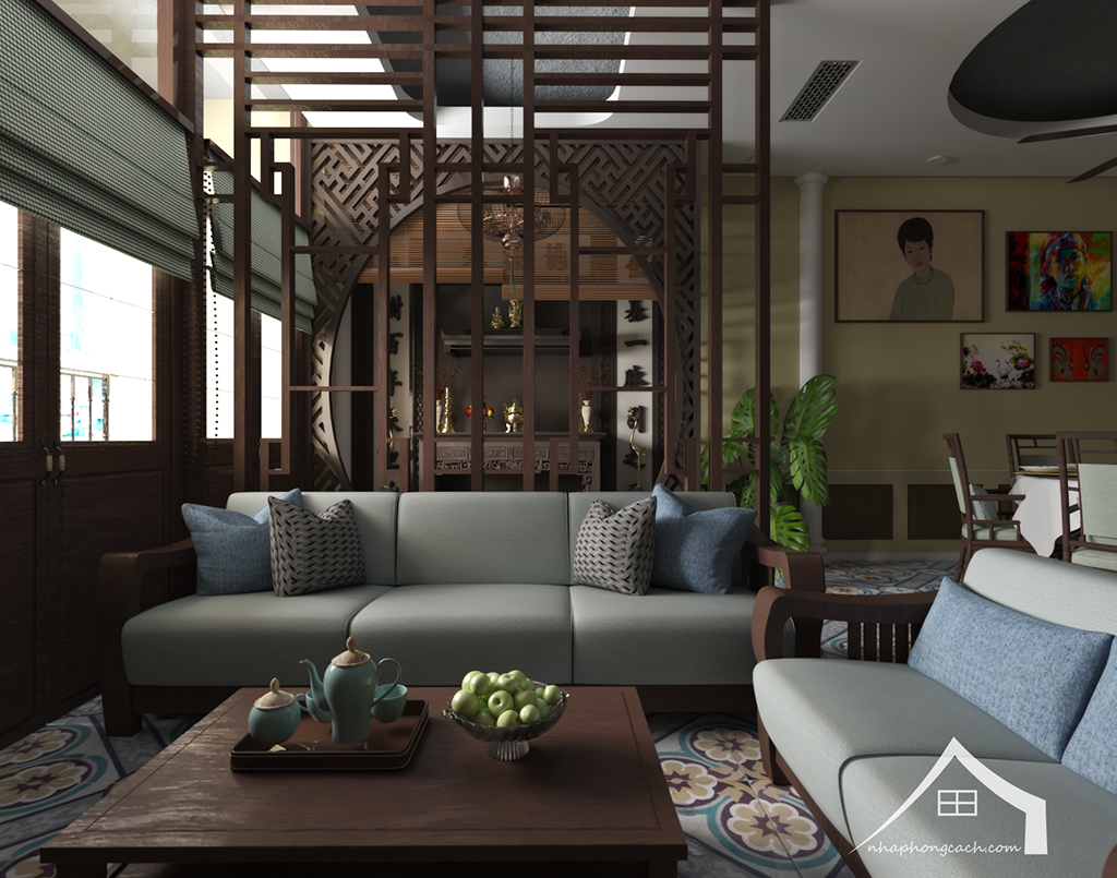 Thiết kế nội thất Đông Dương cho Times City căn 08 & 10 diện tích 95m2 9