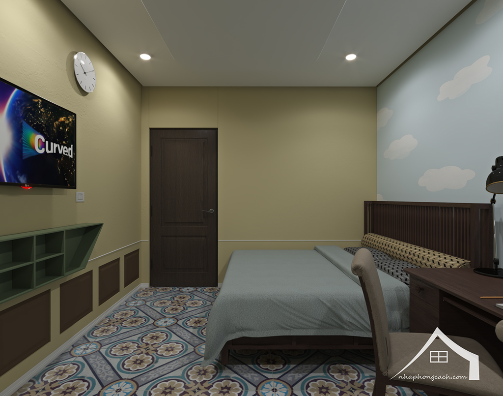 Phòng ngủ con cái phong cách Đông Dương căn 08 &10 diện tích 95m2 3