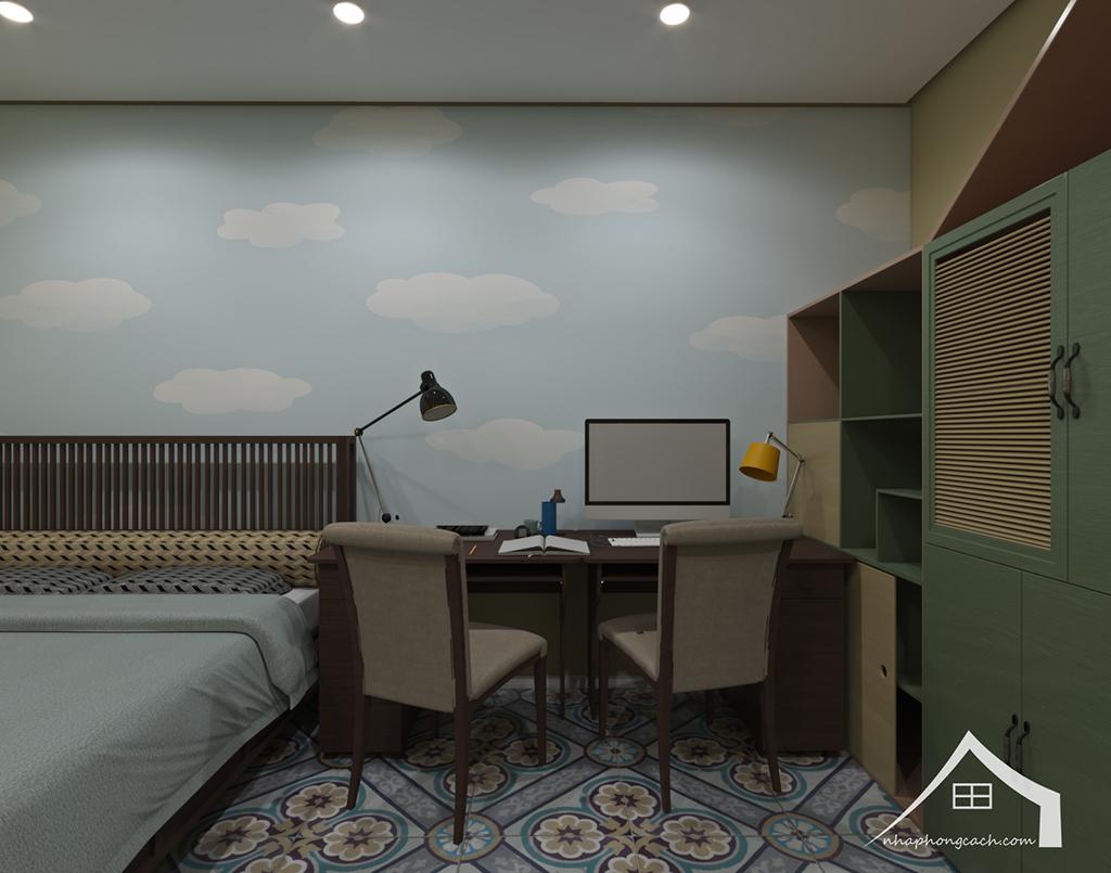 Phòng ngủ con cái phong cách Đông Dương căn 08 &10 diện tích 95m2 4