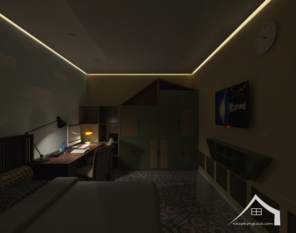 Phòng ngủ con cái phong cách Đông Dương căn 08 &10 diện tích 95m2 5