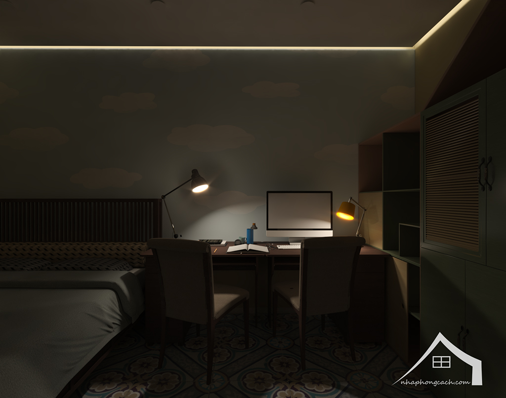 Phòng ngủ con cái phong cách Đông Dương căn 08 &10 diện tích 95m2 6