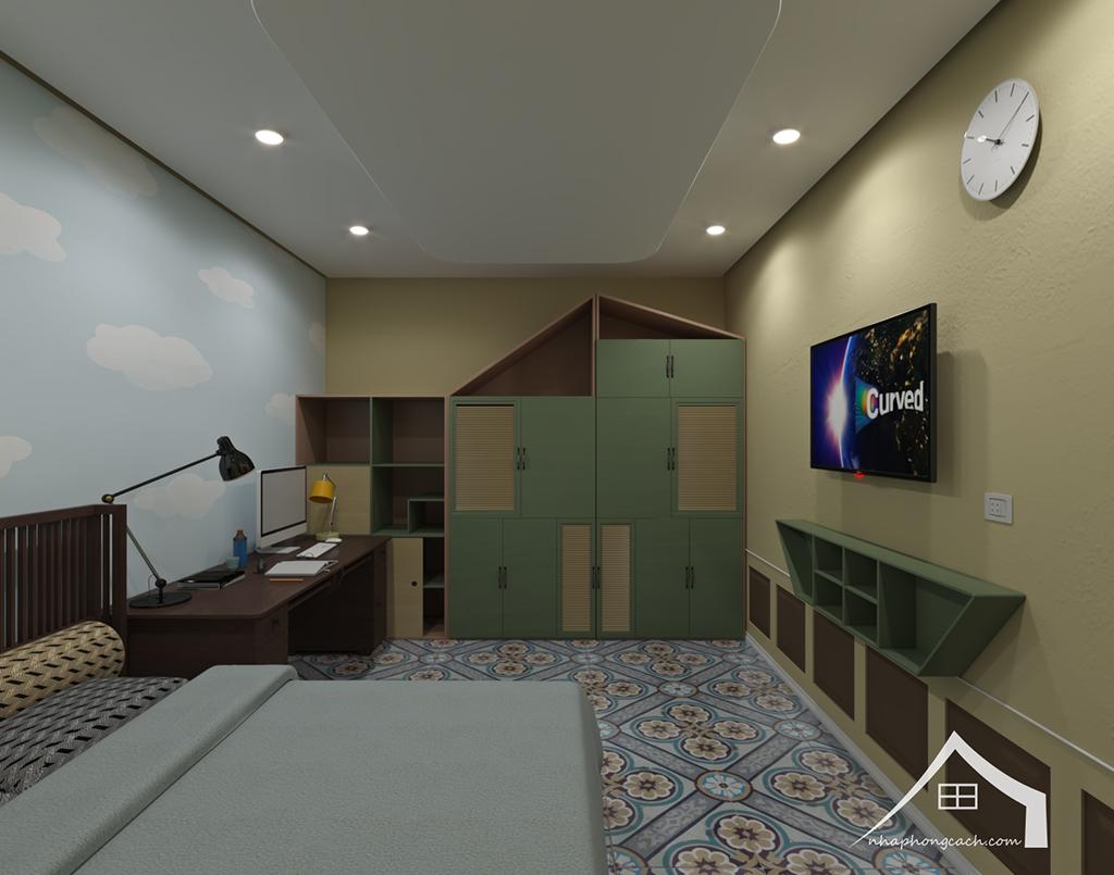 Phòng ngủ con cái phong cách Đông Dương căn 08 &10 diện tích 95m2