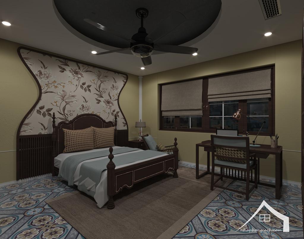 Phòng ngủ bố mẹ phong cách Đông Dương căn 08 &10 diện tích 95m2