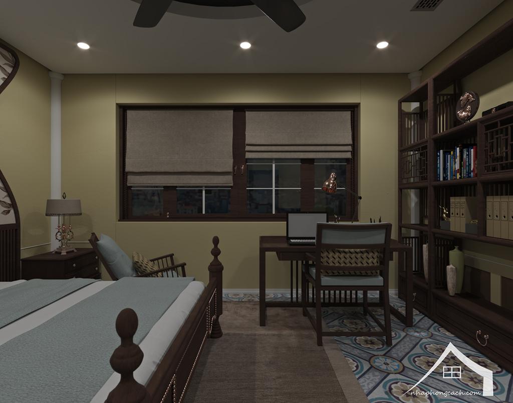 Phòng ngủ bố mẹ phong cách Đông Dương căn 08 &10 diện tích 95m2 3