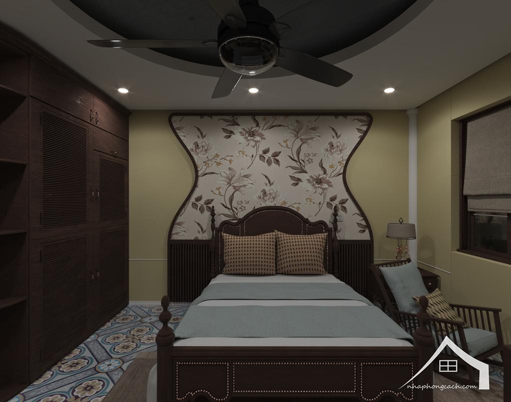 Phòng ngủ bố mẹ phong cách Đông Dương căn 08 &10 diện tích 95m2 5
