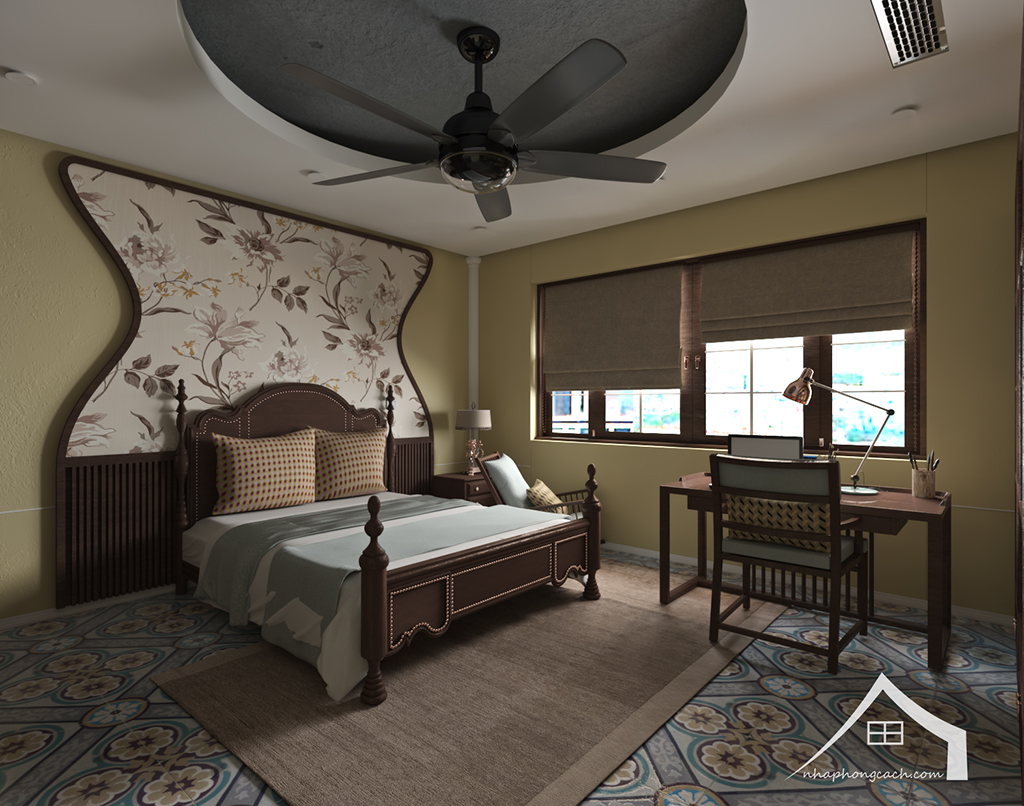 Phòng ngủ bố mẹ phong cách Đông Dương căn 08 &10 diện tích 95m2 6