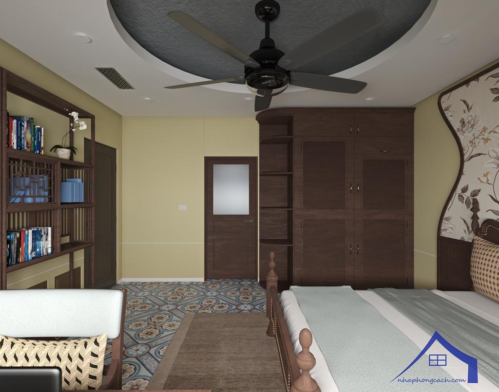 Phòng ngủ bố mẹ phong cách Đông Dương căn 08 &10 diện tích 95m2 7