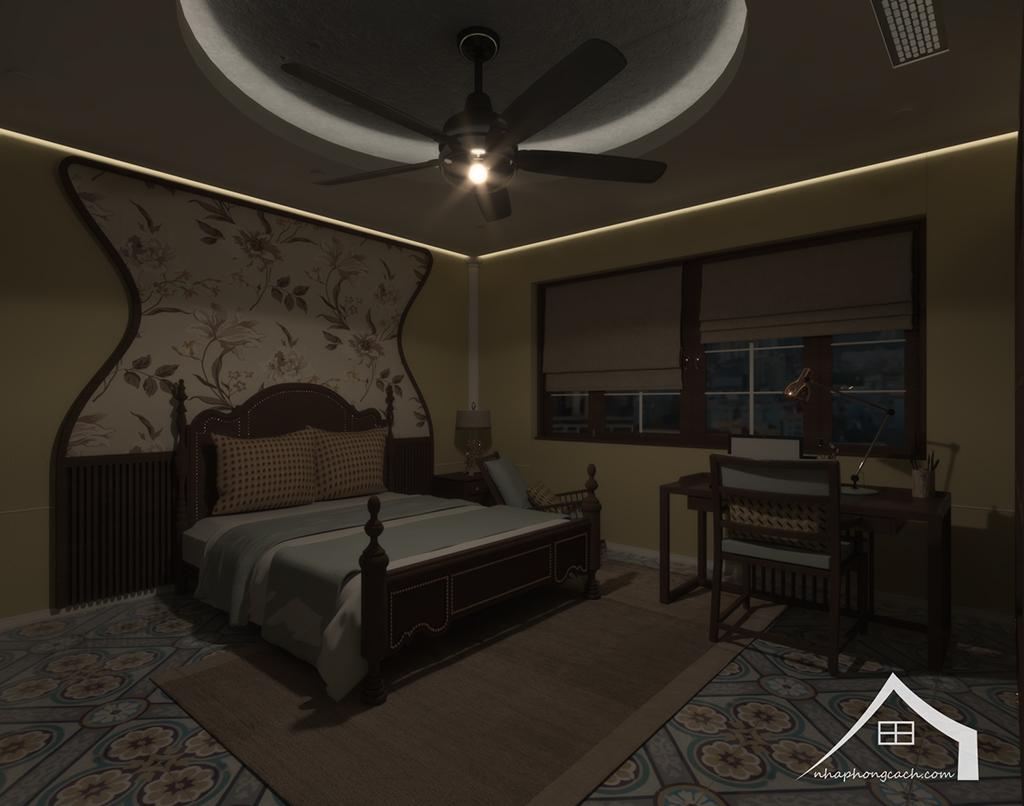 Phòng ngủ bố mẹ phong cách Đông Dương căn 08 &10 diện tích 95m2 8